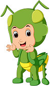 Cute boy cartoon wearing grasshopper costume