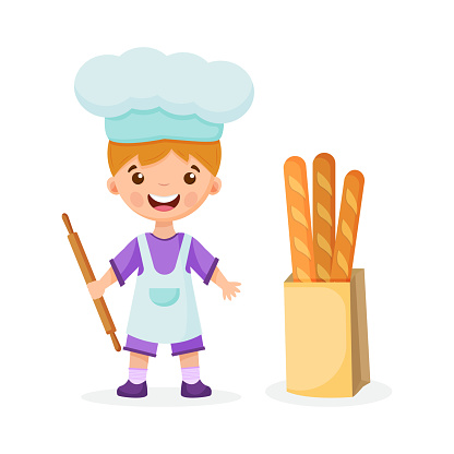 Cute Boy Chef, baker Cartoon. Vector Icon Illustration. People, Food Icon Concept, Isolated vector. Flat Cartoon Style. Vector illustration