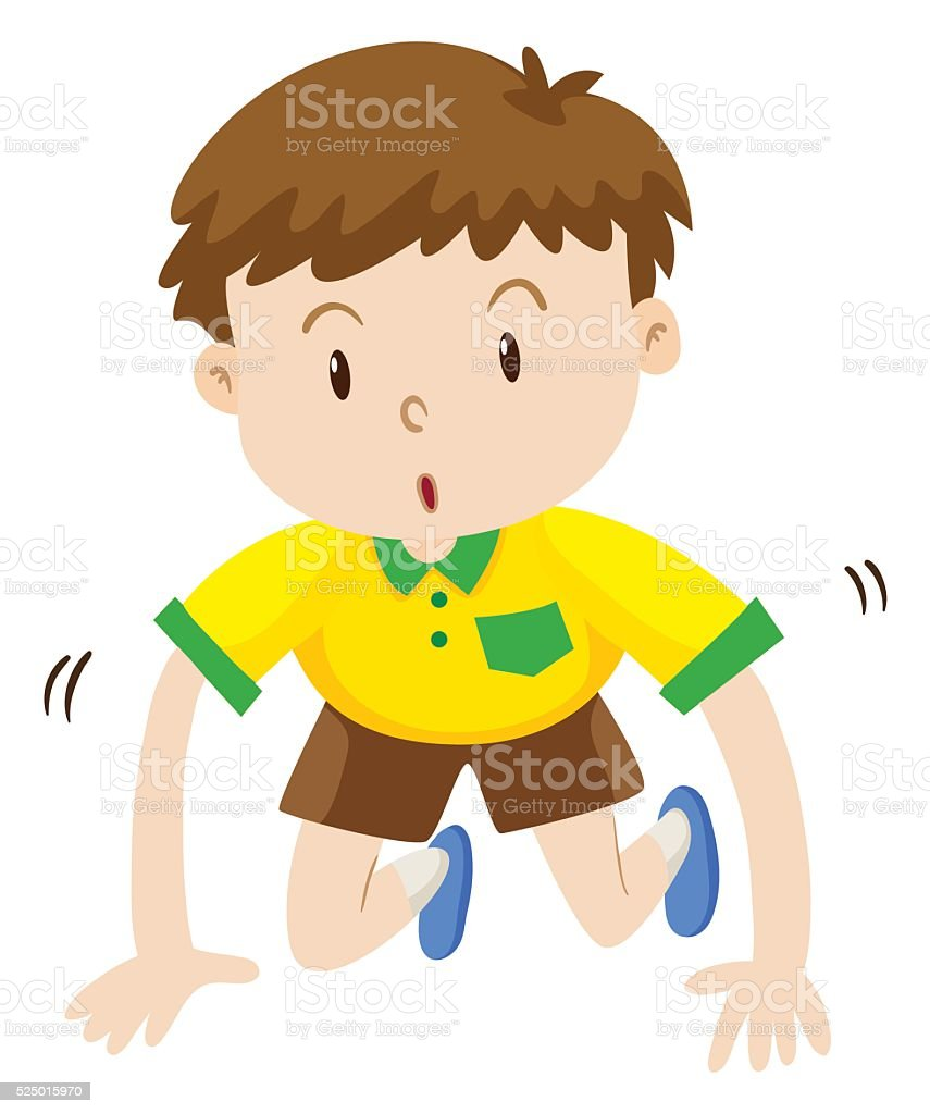 Cute boy crawling on the floor vector art illustration