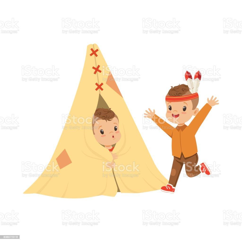 かわいい男の子に扮した小屋ベクトル図で楽しく子供のティーピー