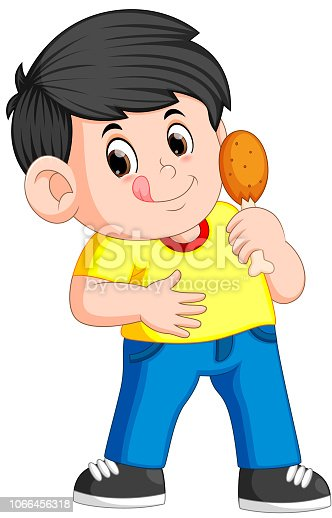 illustration of cute boy eating a deep fried chicken