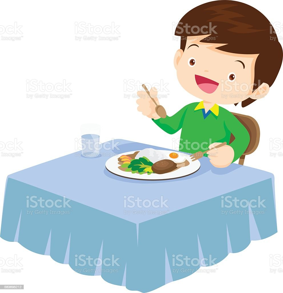 Cute Boy eating so happy and delicious vector art illustration