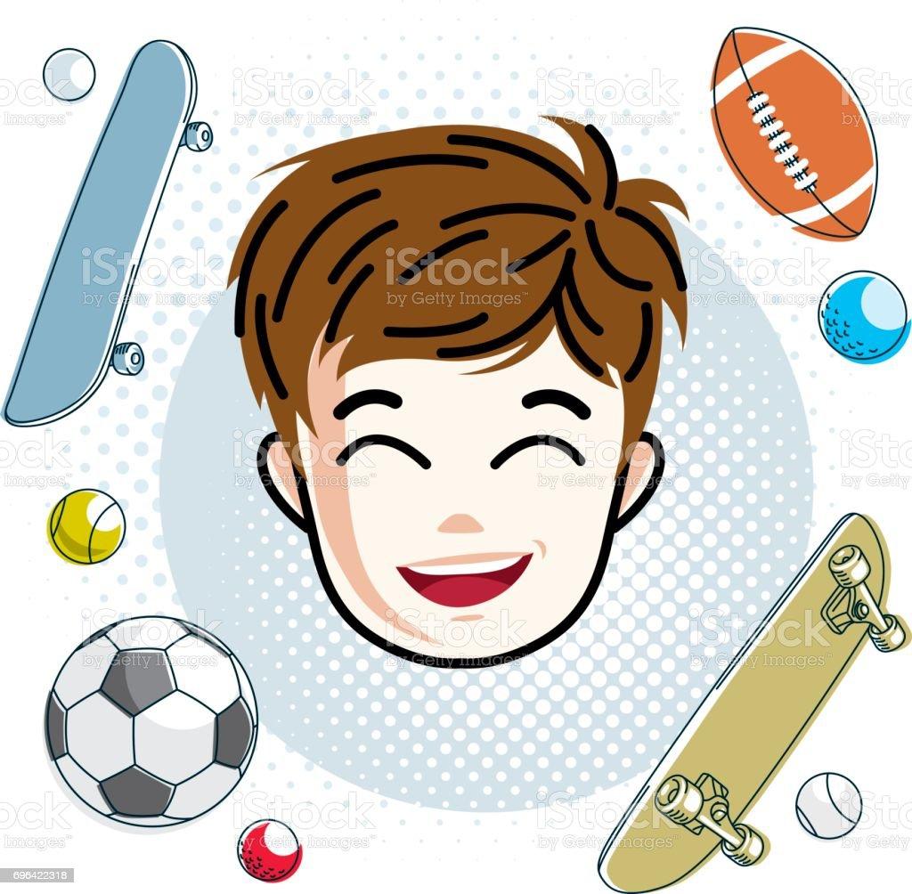 かわいい男の子の顔頭部ベクトル赤毛文字笑顔の幼児の顔の特徴スポーツ