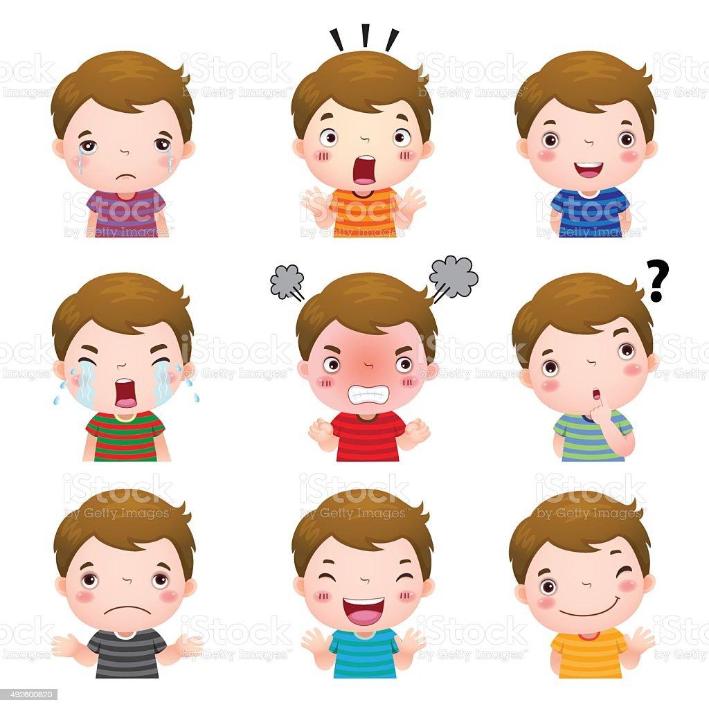 귀여운 남자아이 얼굴 표시중 다른 감정을 감정에 대한 스톡 벡터 아트 및 기타 이미지