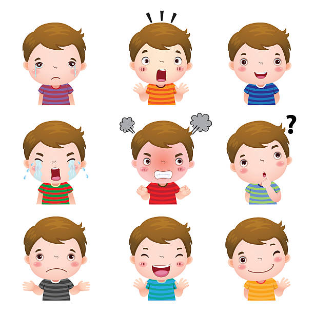 cute boy faces showing different emotions - tears of joy emoji stock illustrations