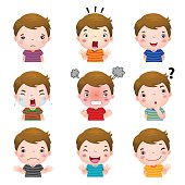 Cute boy faces showing different emotions