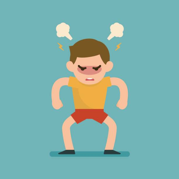 bildbanksillustrationer, clip art samt tecknat material och ikoner med söt pojke blir arg arg slåss med blåser från öron uttryck, vektorillustration. - angry