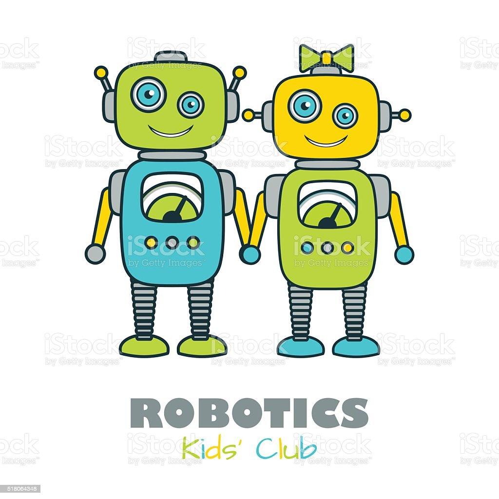Cute Boy Girl Robot Cartoon Character Icon Stock Vector Art More