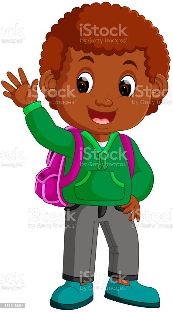 cute boy go to school cartoon vector art illustration