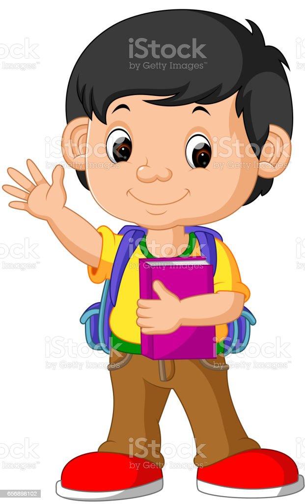 Cute boy go to school vector art illustration