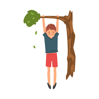 Cute Boy Hanginig on a Tree Branch Vector Illustration
