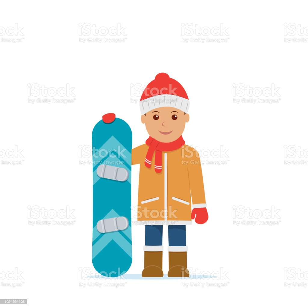 Cute Boy Hold Snowboard Winter Sport Snowboarding Vector Illustration In Flat Style Stock Illustration Download Image Now Istock