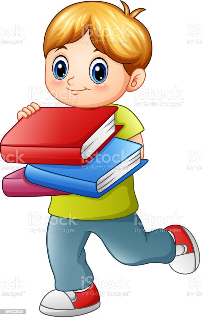 Cute boy holding book isolated on white backgroud vector art illustration