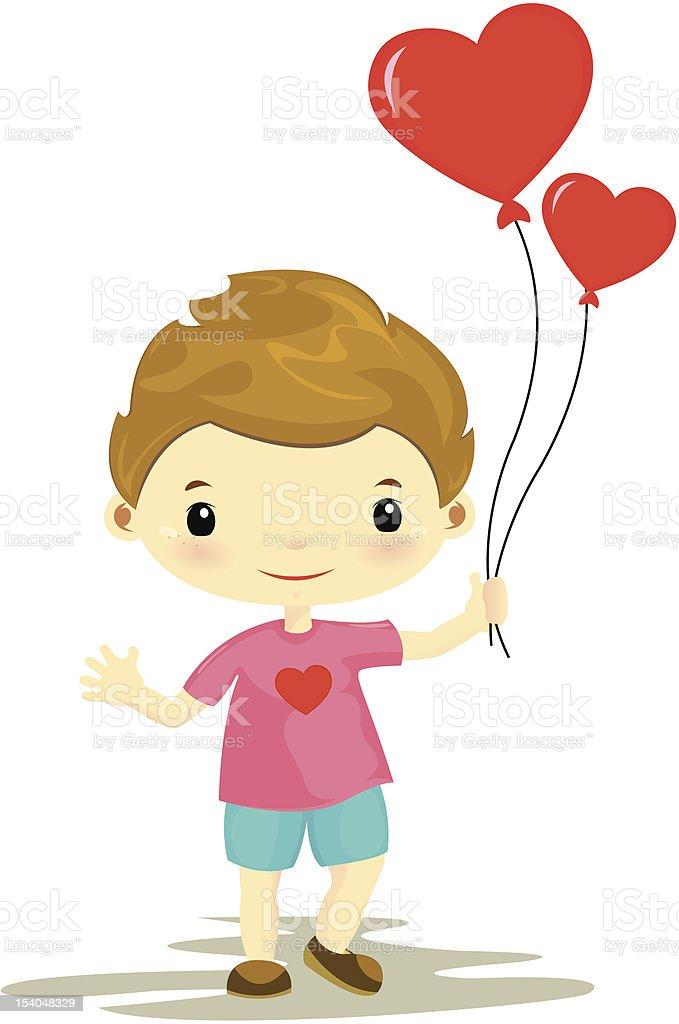 cute boy holding heart shape balloon royalty-free stock vector art