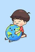 Cute boy hug the earth, kawaii cartoon for earth day concept, chibi character in minimal style, vector illustration