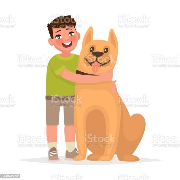 Cute boy hugging a dog on a white background friendship vector in vector id908605092?b=1&k=6&m=908605092&s=612x612&h=lwylihflhqmrmxnygcbsa5ofyx4ylc31zpzdp4tofhm=