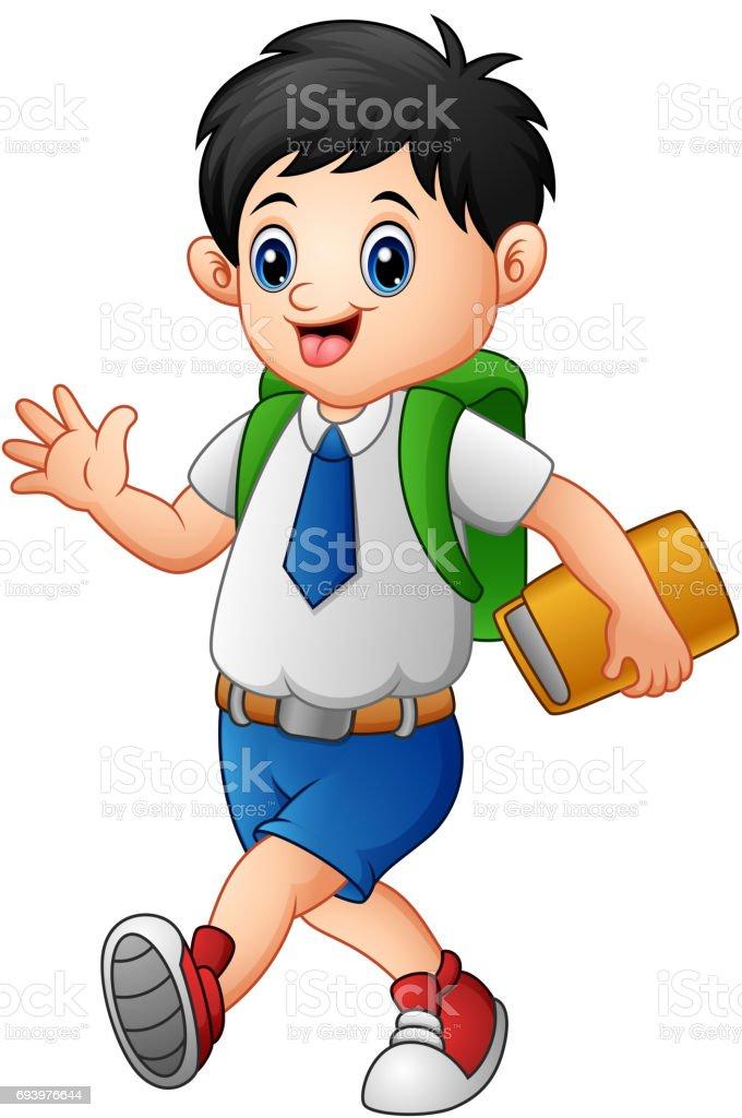 Cute boy in a school uniform go to school vector art illustration