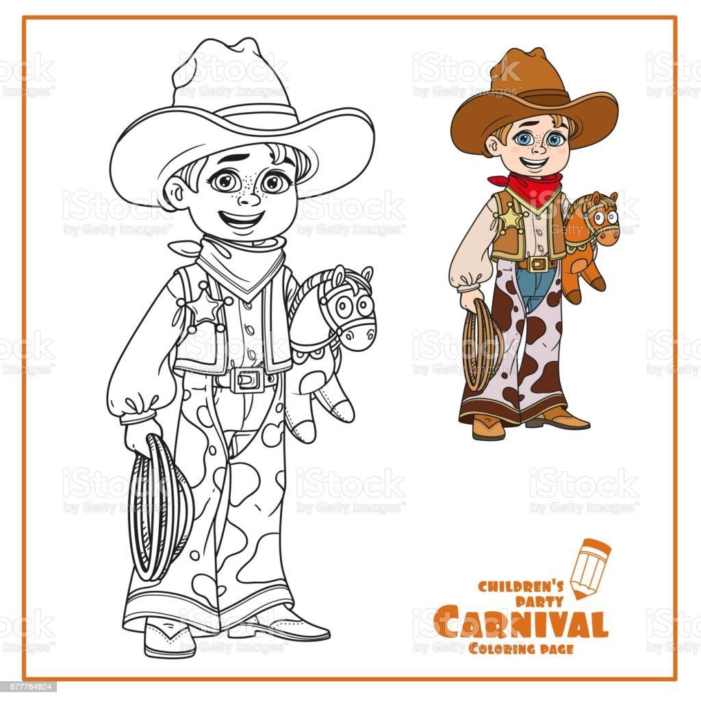 Süsser Boy In Cowboy Kostüm Farbe Und Skizziert Für Malvorlagen ...