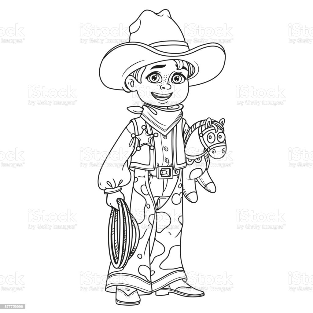 Cute Boy In Cowboy Costume Outlined For Coloring Page Stock ...