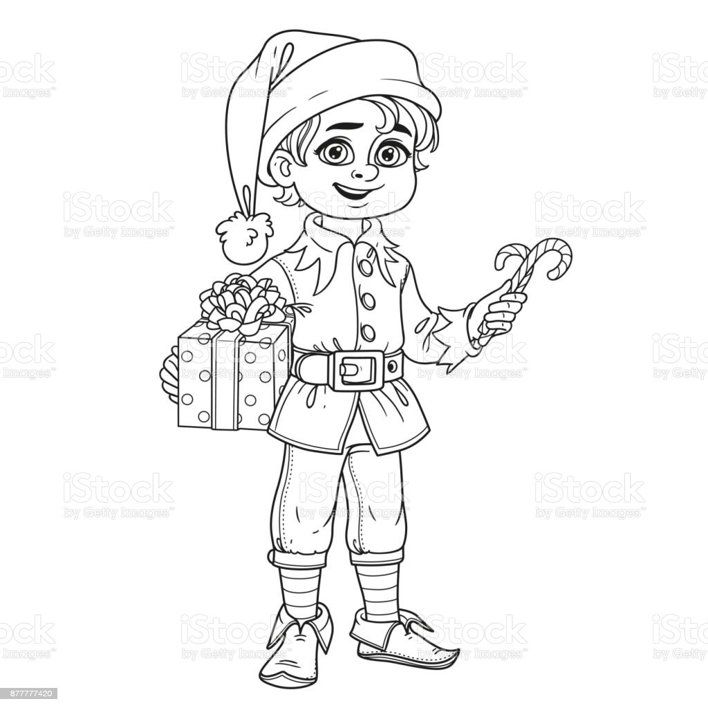 Cute Boy In Elf Santas Assistant Costume Outlined For ...