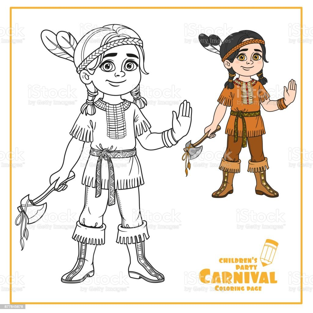 Süsser Boy In Indisches Kostüm Farbe Und Skizziert Für Malvorlagen ...
