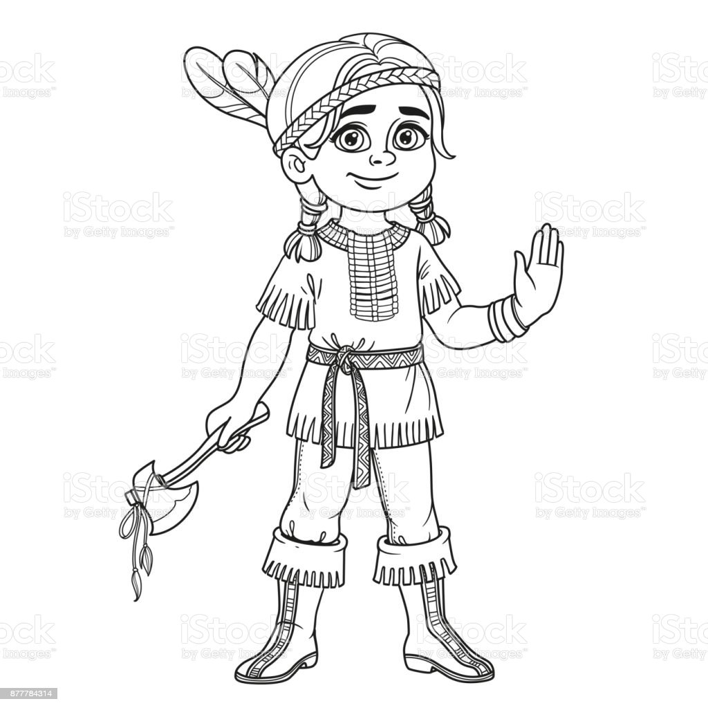 cute boy in indian costume outlined for coloring page royalty free stock vector art