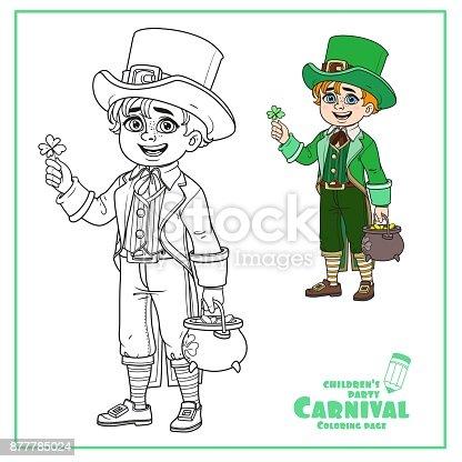 Ilustración de Chico Lindo En Leprechaun Traje Con Un Pote De Color ...