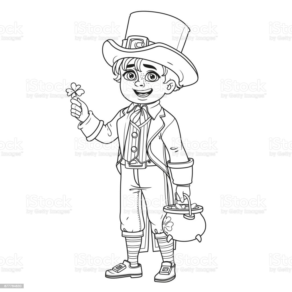 Cute Boy In Leprechaun Costume With A Pot Of Gold Outlined For Coloring Page Royalty