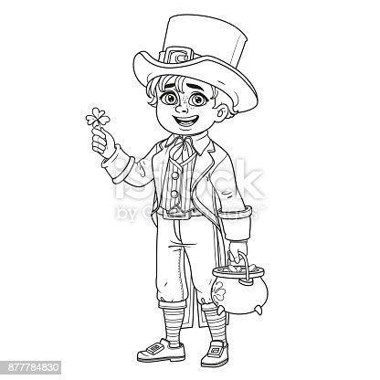 Ilustración de Chico Guapo En Traje De Duende Con Una Olla De Oro ...