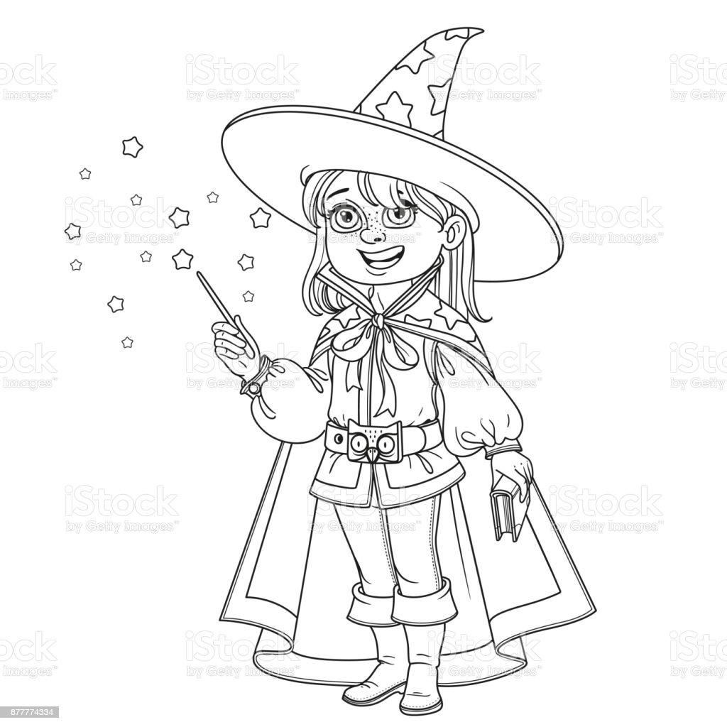 Süße Junge Zauberer Kostüm Für Malvorlagen Skizziert Stock Vektor ...