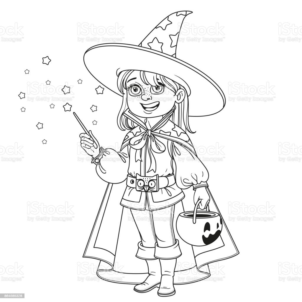cute boy in magician costume  a pumpkin bag for sweets