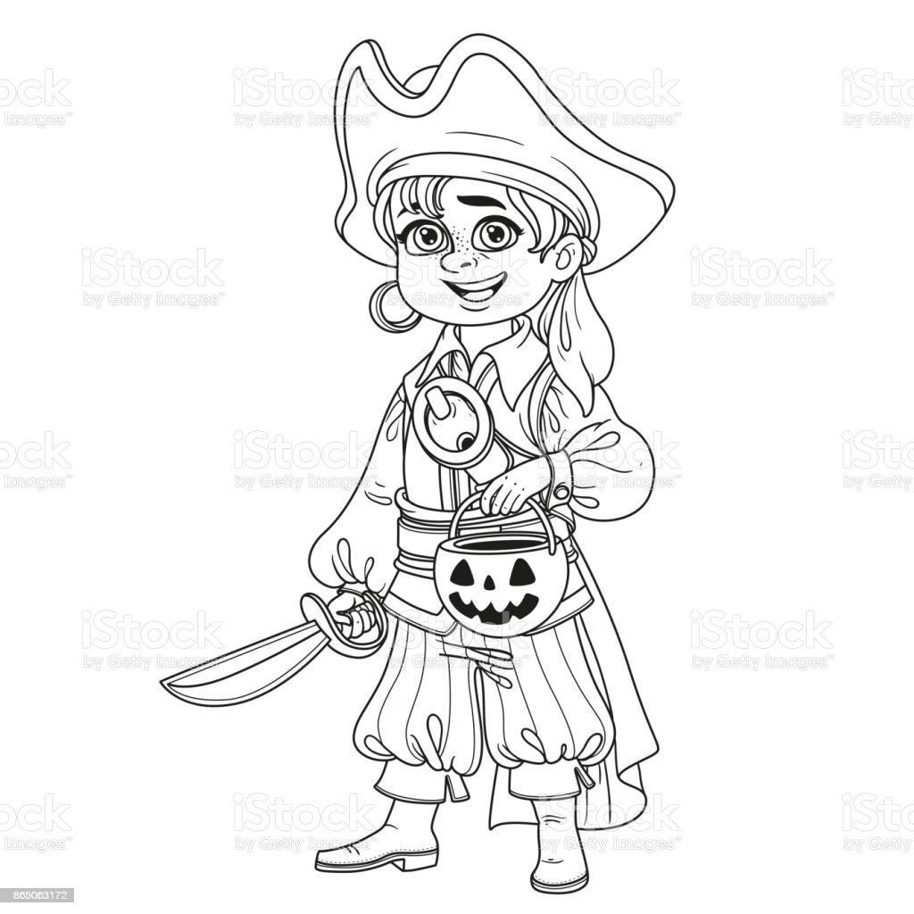 Süsser Boy Pirate Kostüm Mit Einem Kürbis Tasche Für Süßigkeiten ...