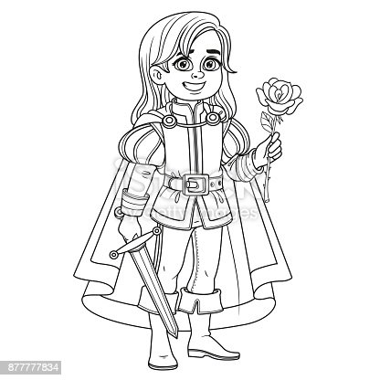 Cute Boy In Prince Charming Costume Outlined For Coloring ...