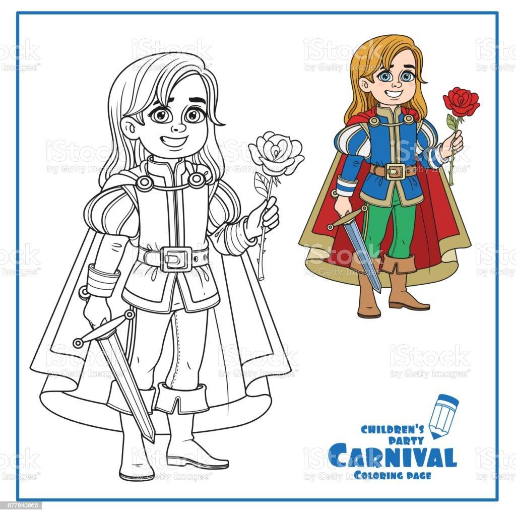 Yakışıklı Beyaz Atlı Prens Kostüm Sayfa Renklendirme Için özetlenen