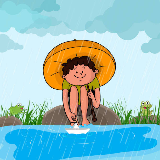 cute boy in rains for monsoon season concept. - kids playing in rain stock illustrations, clip art, cartoons, & icons