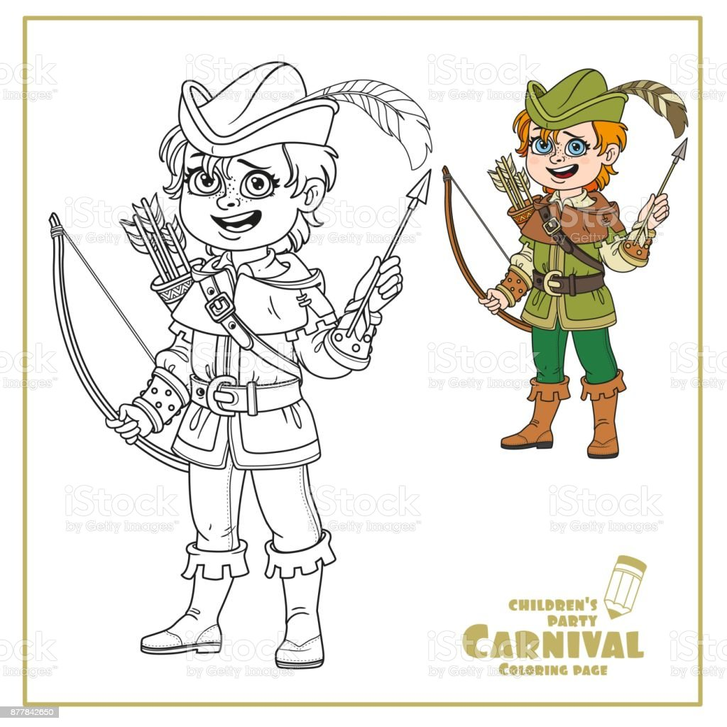 Cute Boy In Robin Hood Costume Color And Outlined For Coloring Page ...