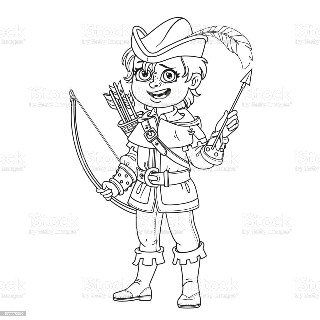 Robin Hood Kostüm Sayfa Renklendirme Için özetlenen Sevimli çocuk