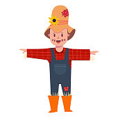 Cute boy in scarecrow costume. Vector cartoon flat character a child in masquerade clothing isolated on background.