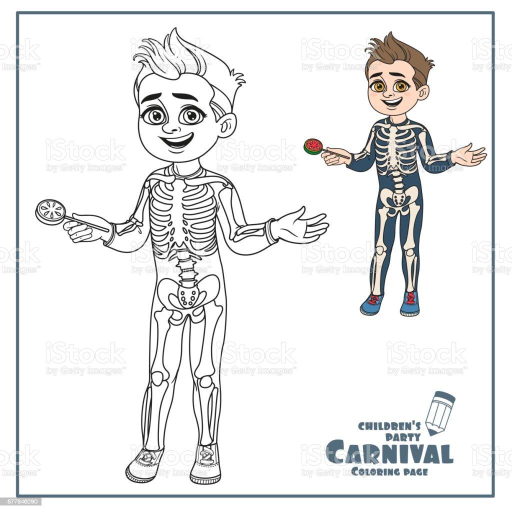 Ilustración de Chico Lindo En Esqueleto Traje Color Y Contorneado ...