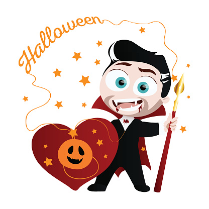Cute boy in vampire costume.