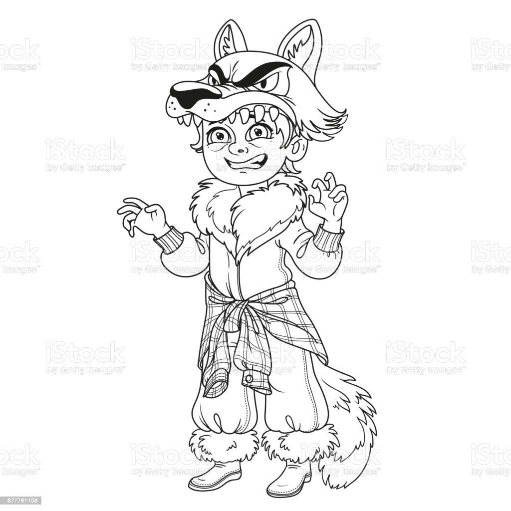 Garçon Mignon En Costume De Loup Garou Décrite Pour