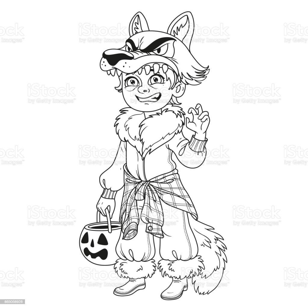 Süsser Boy In Werwolf Kostüm Mit Einem Kürbis Tasche Für Süßigkeiten ...