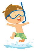 Vector Cute Boy Jumping in Water in Diving Mask