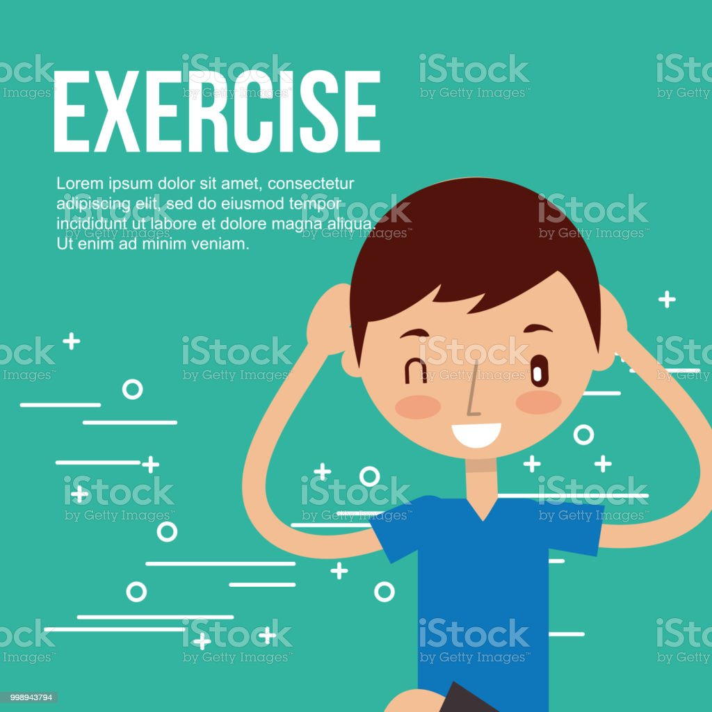 cute boy making exercise stretching sport