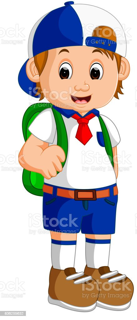 Cute boy on his way to school vector art illustration