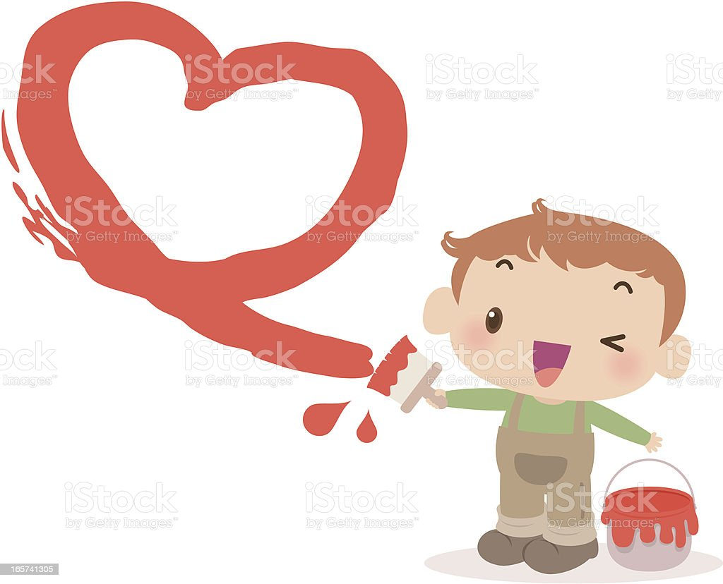 Cute boy painting love heart with a paint brush royalty-free cute boy painting love heart with a paint brush stock vector art & more images of art