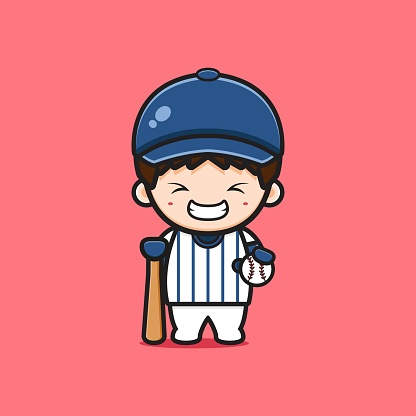 Cute boy playing baseball cartoon icon illustration.