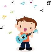 Vector illustration - Cute boy playing guitar(ukulele) and singing.