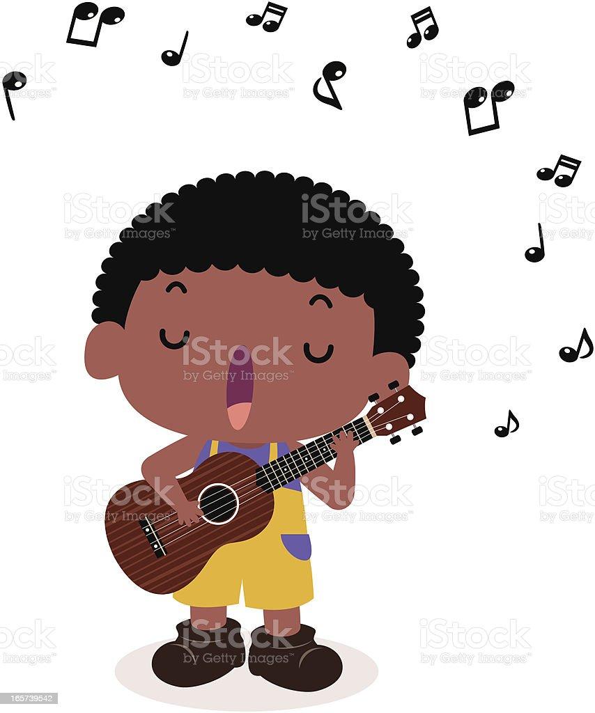 Cute boy playing guitar(ukulele) and singing vector art illustration
