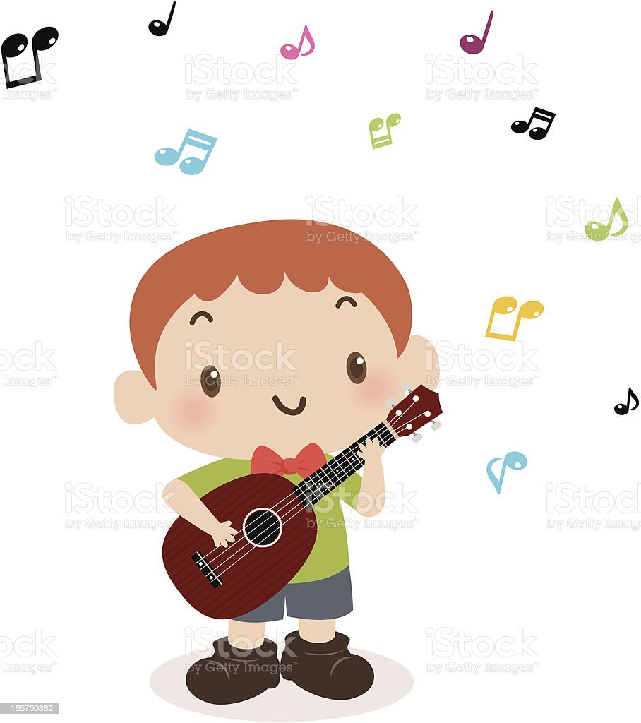 Cute boy playing guitar(ukulele) and singing royalty-free stock vector art
